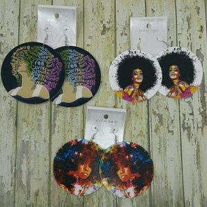 3 Pairs of Afro Centric wood Earrings